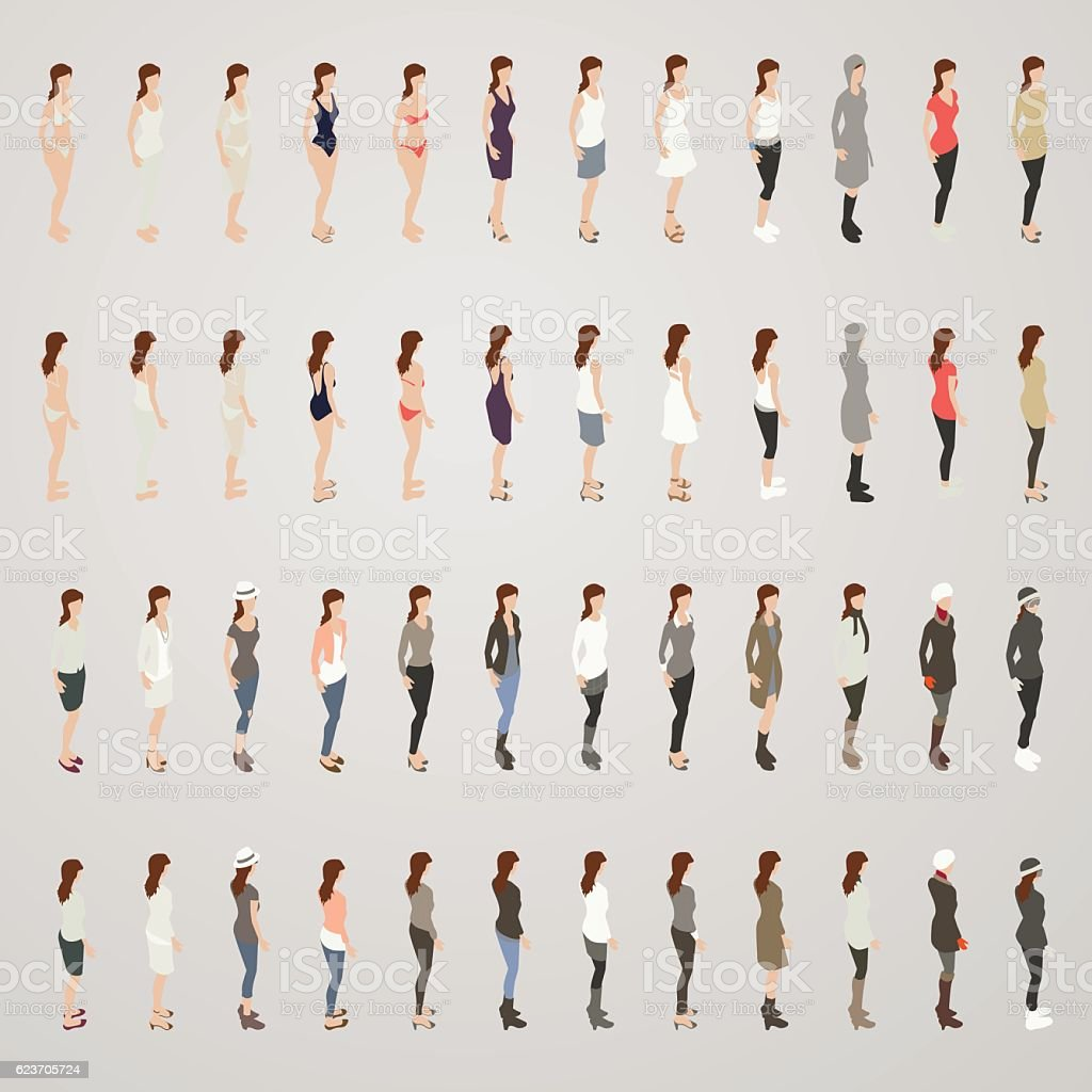 Woman in Different Outfits vector art illustration