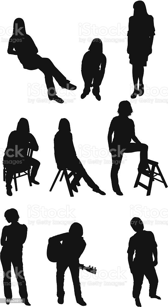 Woman in different poses royalty-free stock vector art