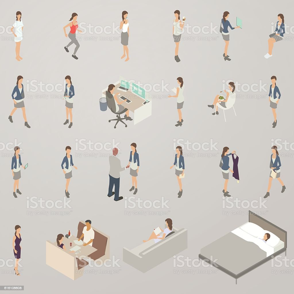Woman in different poses vector art illustration