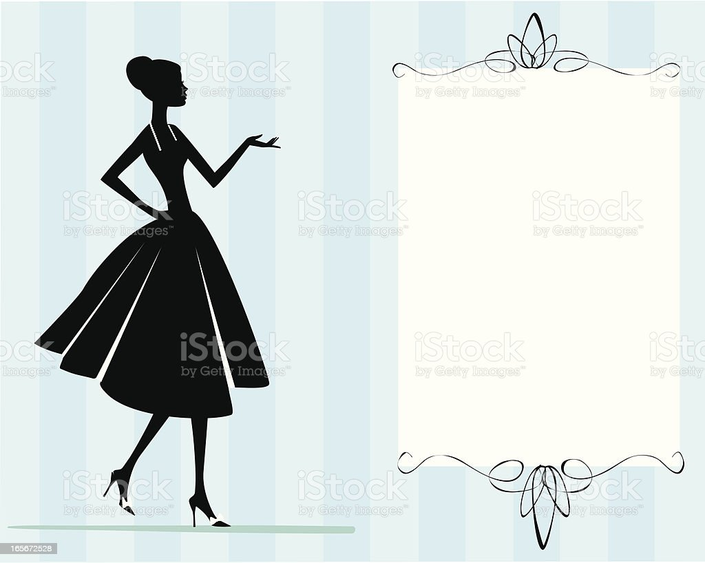 Woman in Dress Invitation royalty-free stock vector art