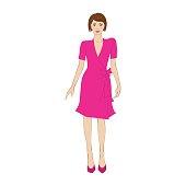 Woman in elegant pink dress flat icon