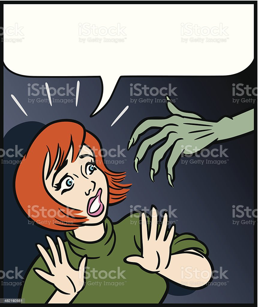 Woman In Fear of Monster Hand royalty-free stock vector art
