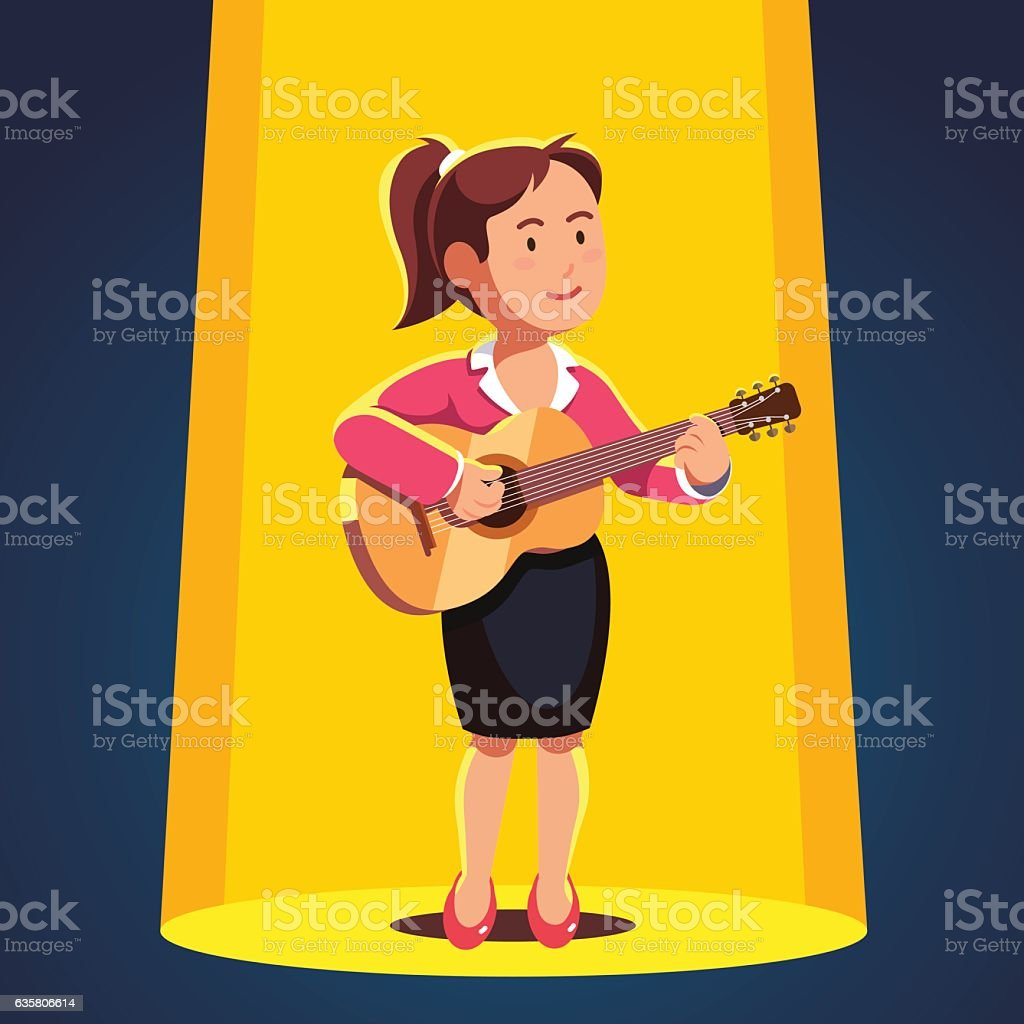 Woman in formal dress playing guitar and singing vector art illustration