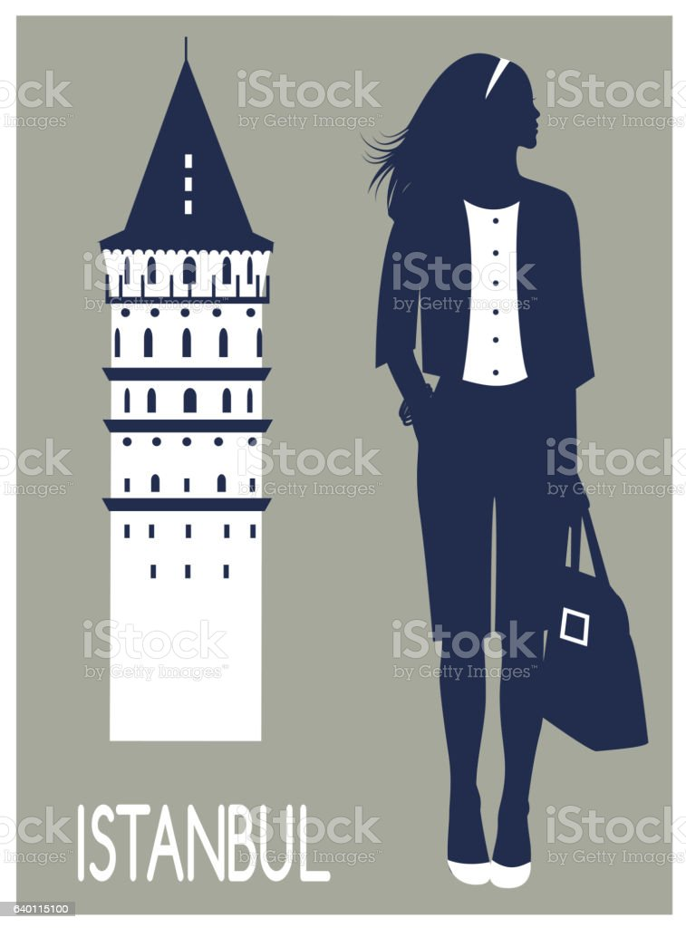 Woman in Istanbul vector art illustration