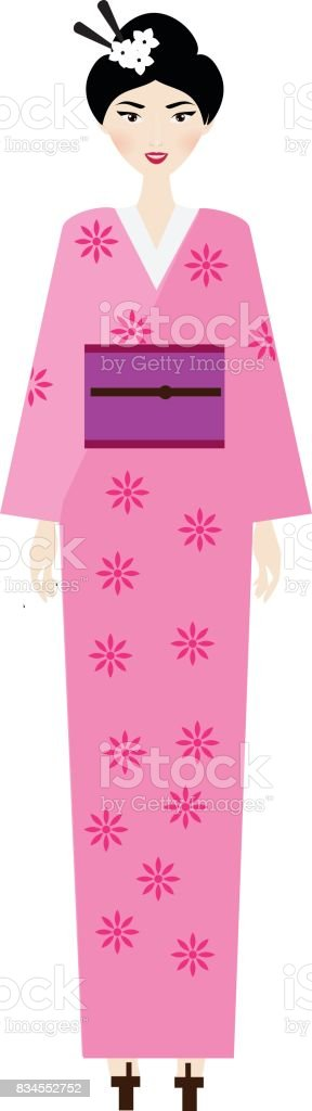 Woman in kimono. Female in traditional japanese clothes vector art illustration