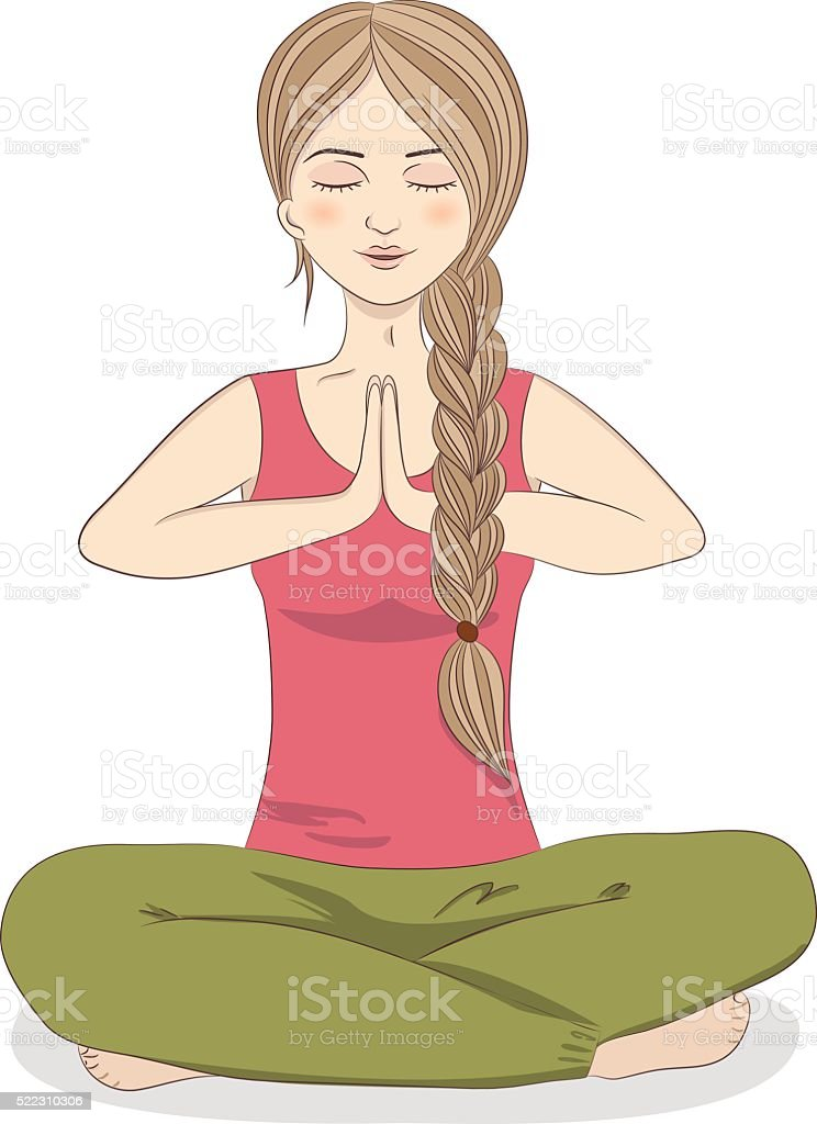 Woman in lotus position. Yoga and fitness. vector art illustration