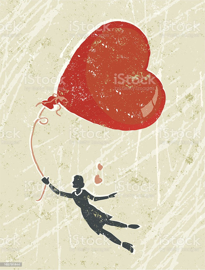 Woman in Love Floating on Air With a Heart Balloon royalty-free stock vector art