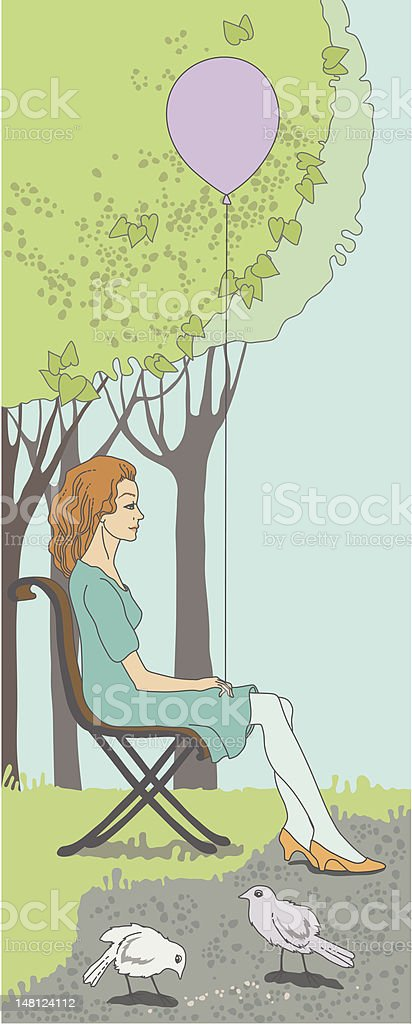 Woman in Park royalty-free stock vector art