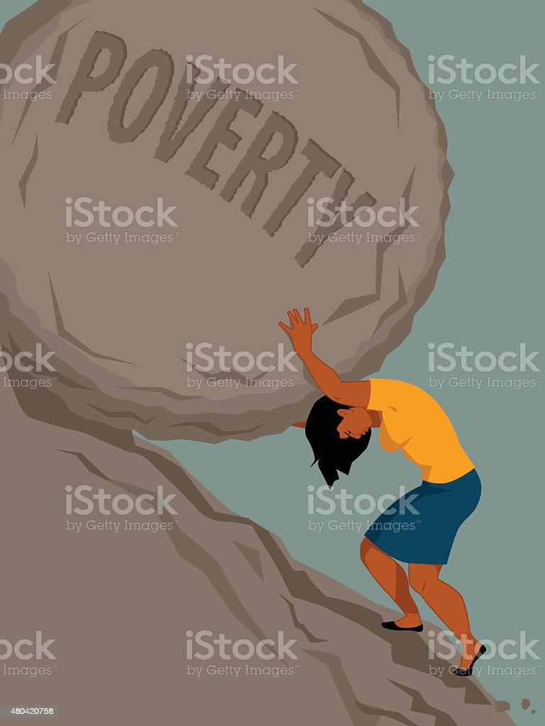 Woman in poverty vector art illustration