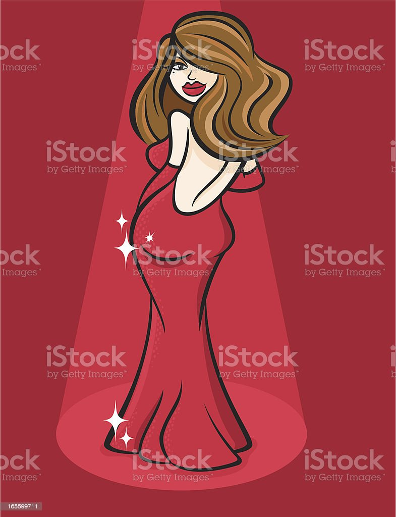 Woman in Red vector art illustration
