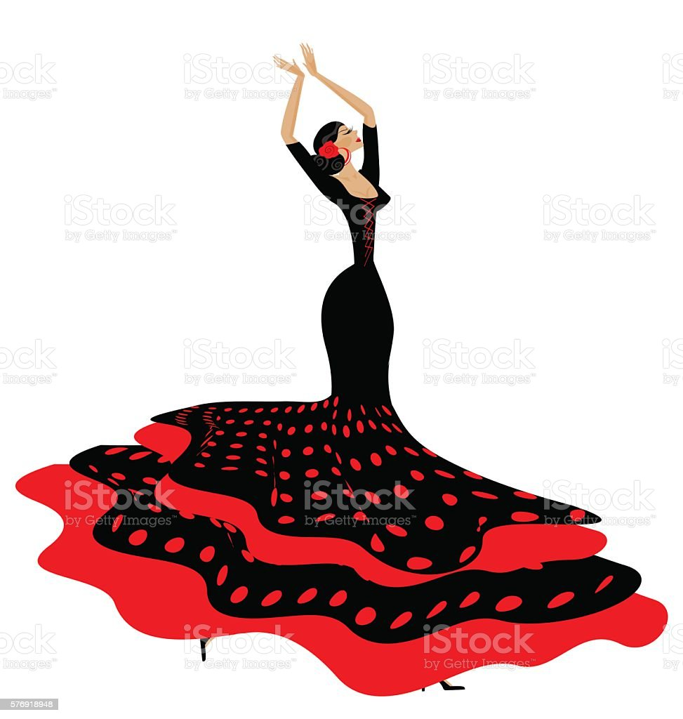 woman in red-black and flamenco vector art illustration