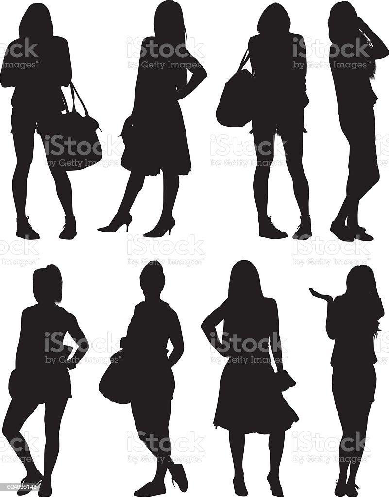 Woman in various action vector art illustration