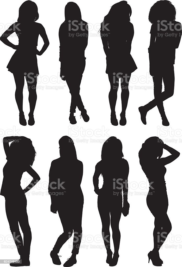Woman in various actions vector art illustration