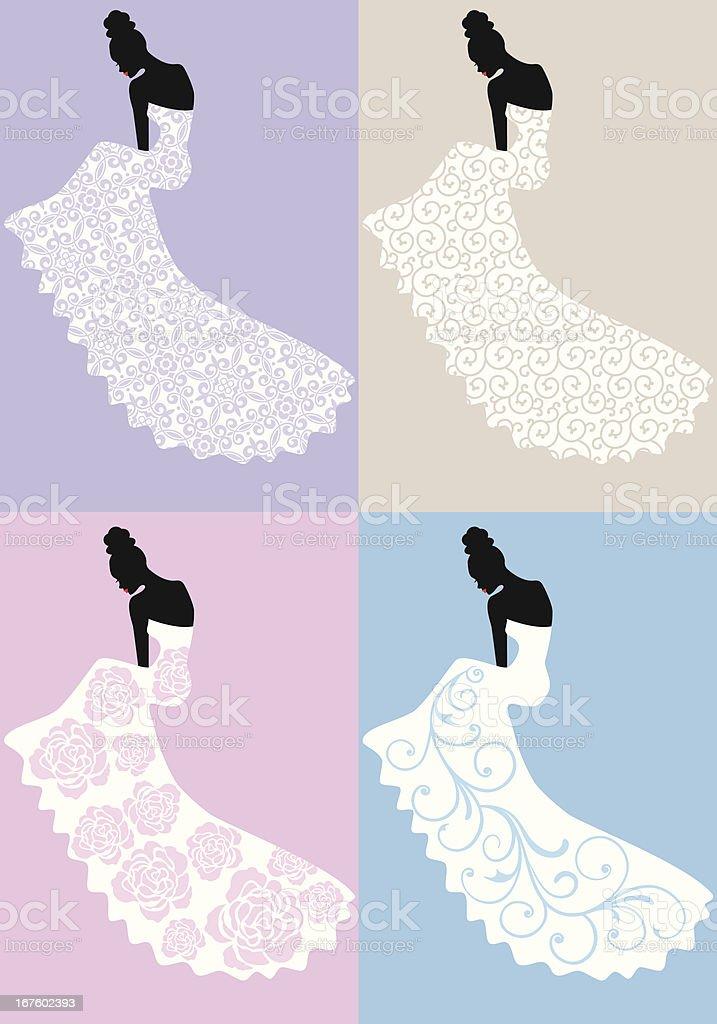 woman in wedding dress, vector royalty-free stock vector art