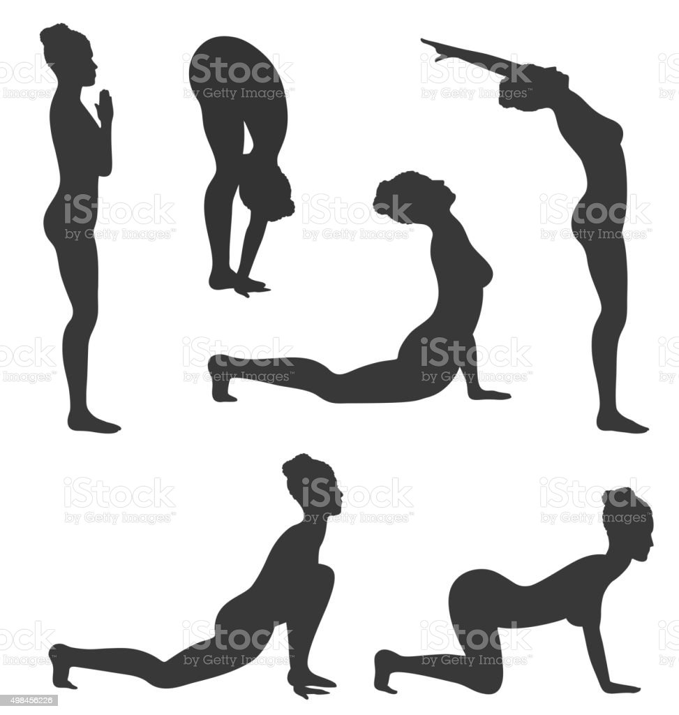 Woman in Yoga Poses Asanas Set Black Isolated on White vector art illustration