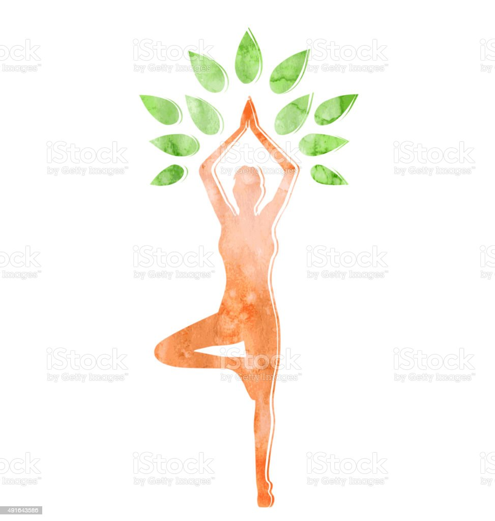 Woman in Yoga Tree Pose Isolated on White vector art illustration