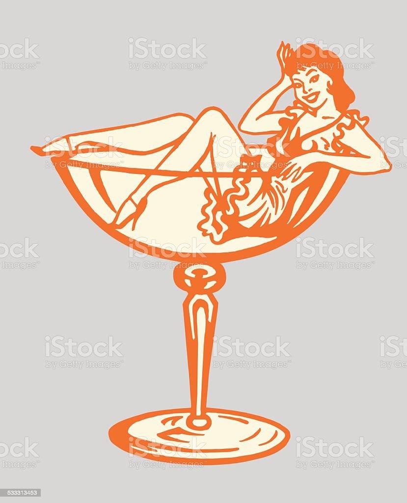 Woman Inside Cocktail Glass vector art illustration