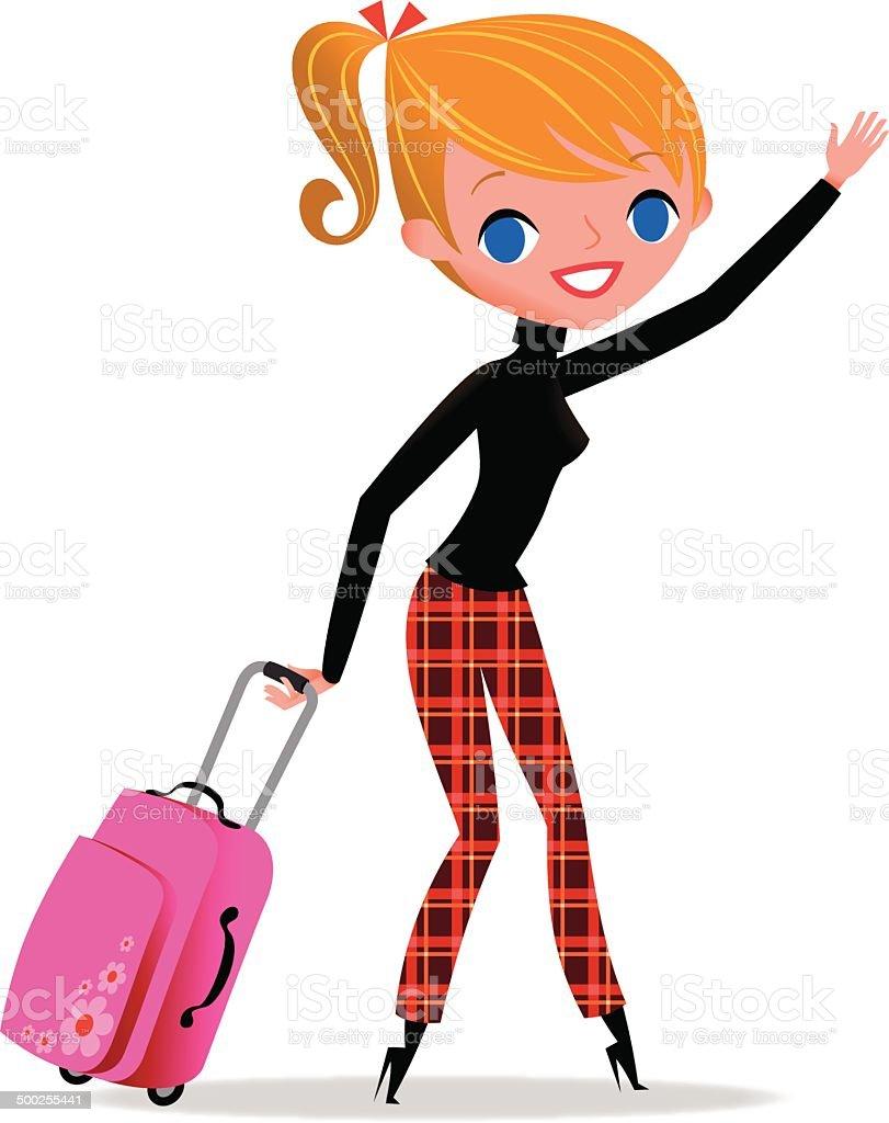 Woman is traveling. vector art illustration