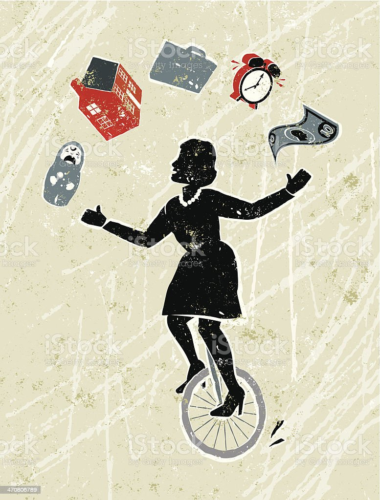 Woman Juggling house, work, baby and finance on a Unicycle vector art illustration
