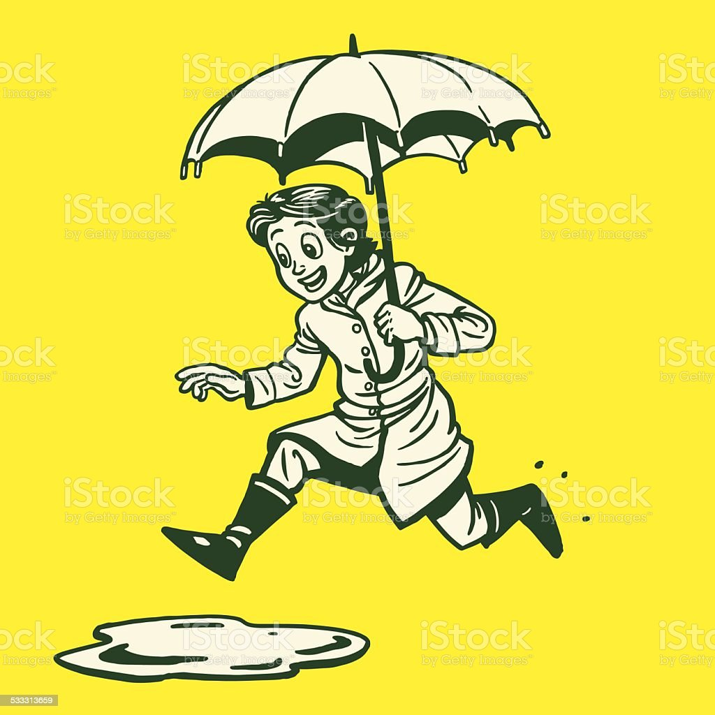 Woman Jumping in Puddle vector art illustration
