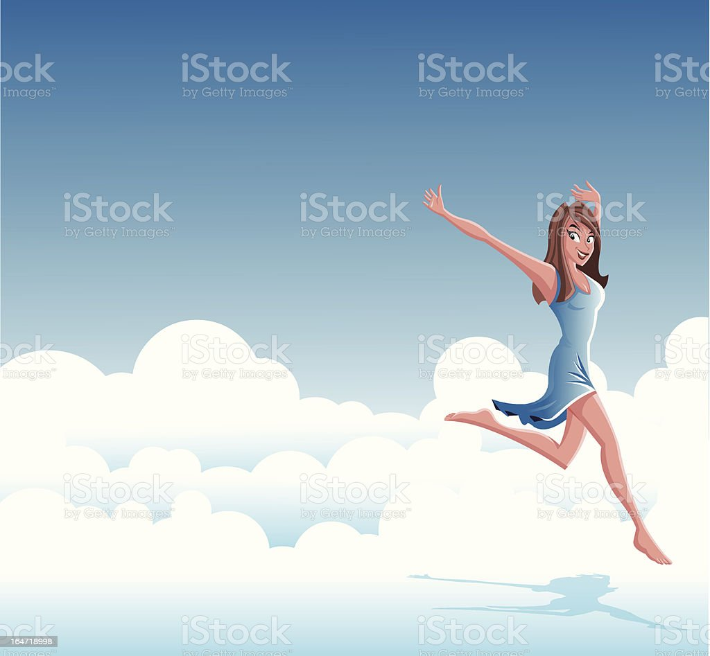 woman jumping on clouds royalty-free stock vector art