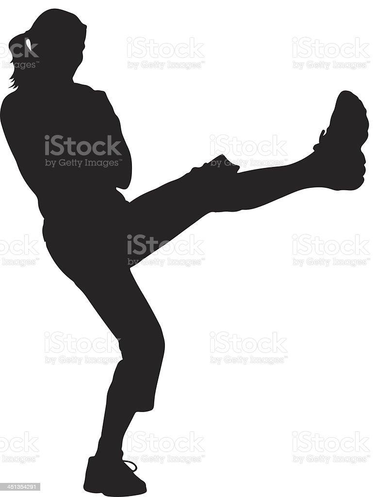 Woman Kickboxer Silhouette vector art illustration