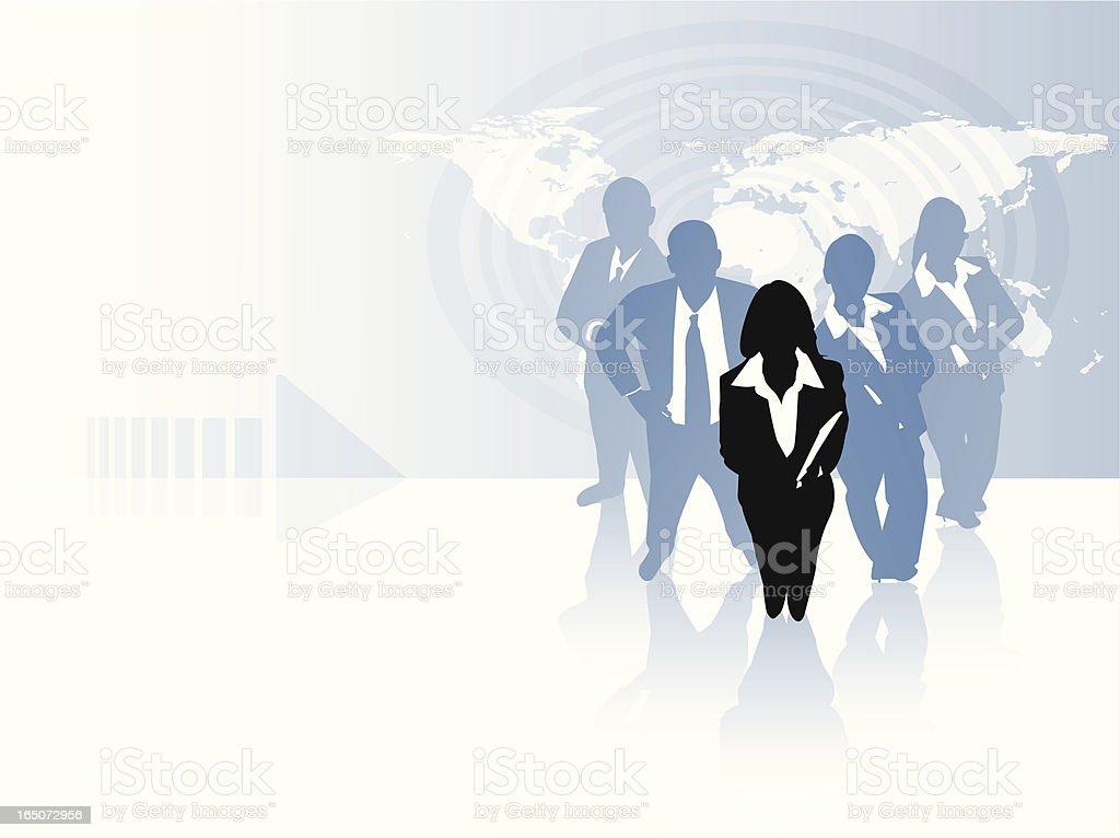 Woman leading global team royalty-free stock vector art