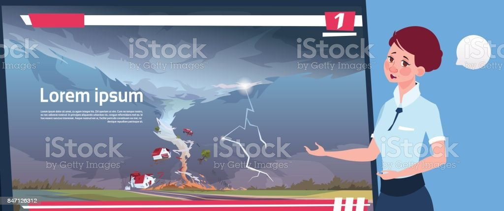 Woman Leading Live TV Broadcast About Tornado Destroying Farm Hurricane Damage News Of Storm Waterspout In Countryside Natural Disaster Concept vector art illustration