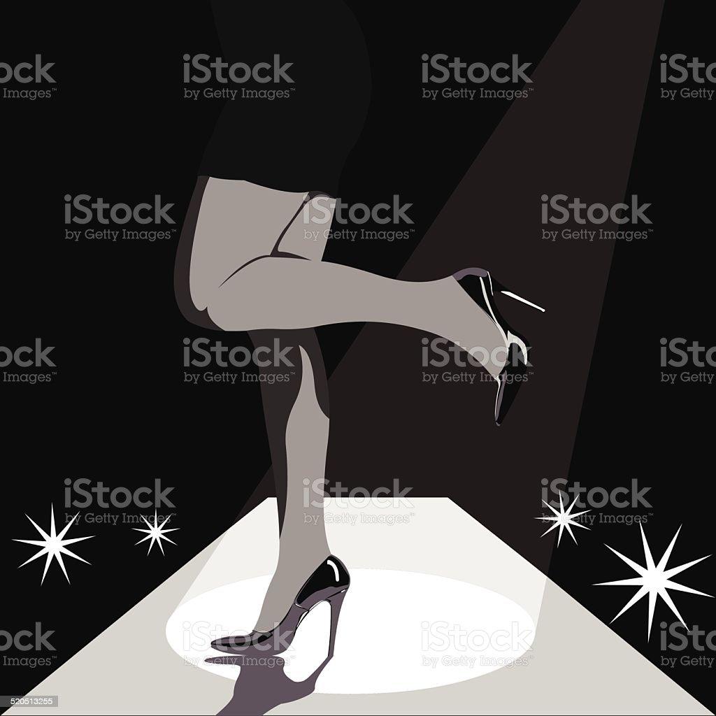 Woman legs in high heels on runway stage vector art illustration