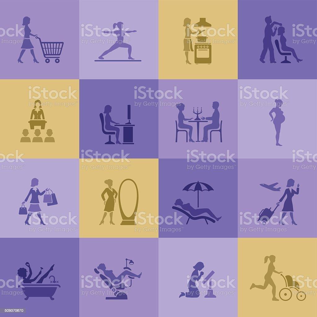 Woman life icons vector art illustration