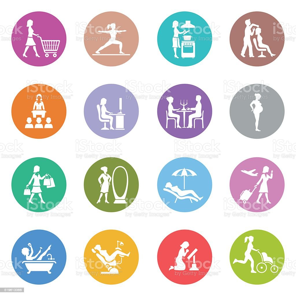 Woman Life Icons vector art illustration