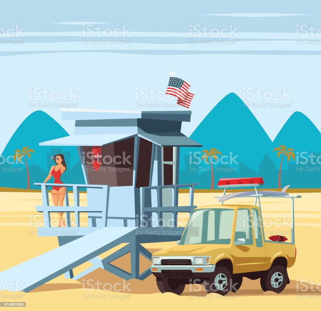 Woman lifeguard on duty with truck in Los Angeles beach vector art illustration