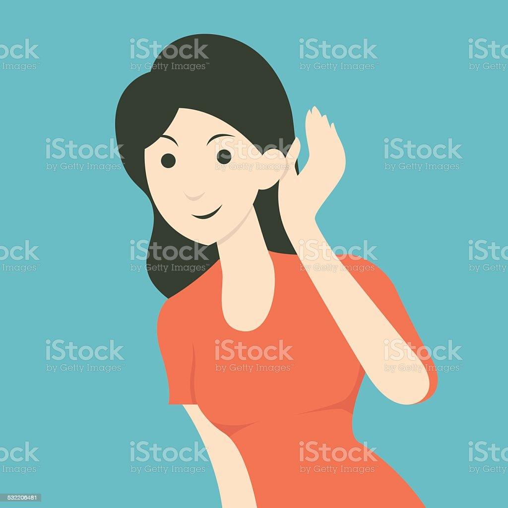 Woman listenning vector art illustration