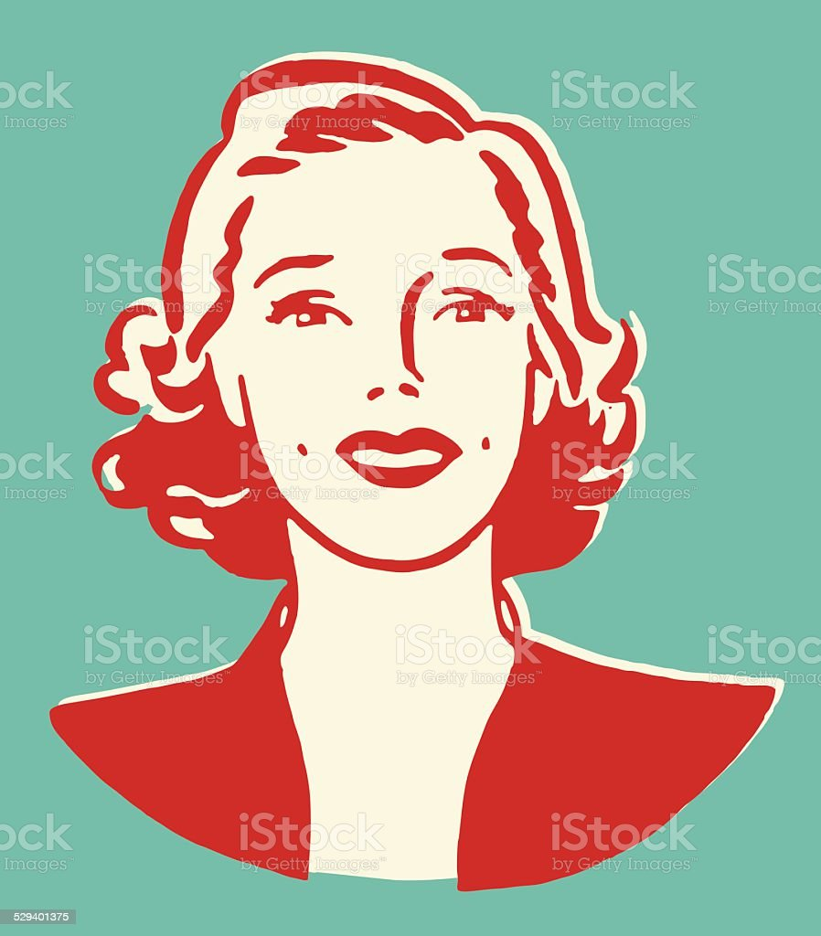 Woman Looking Ahead vector art illustration