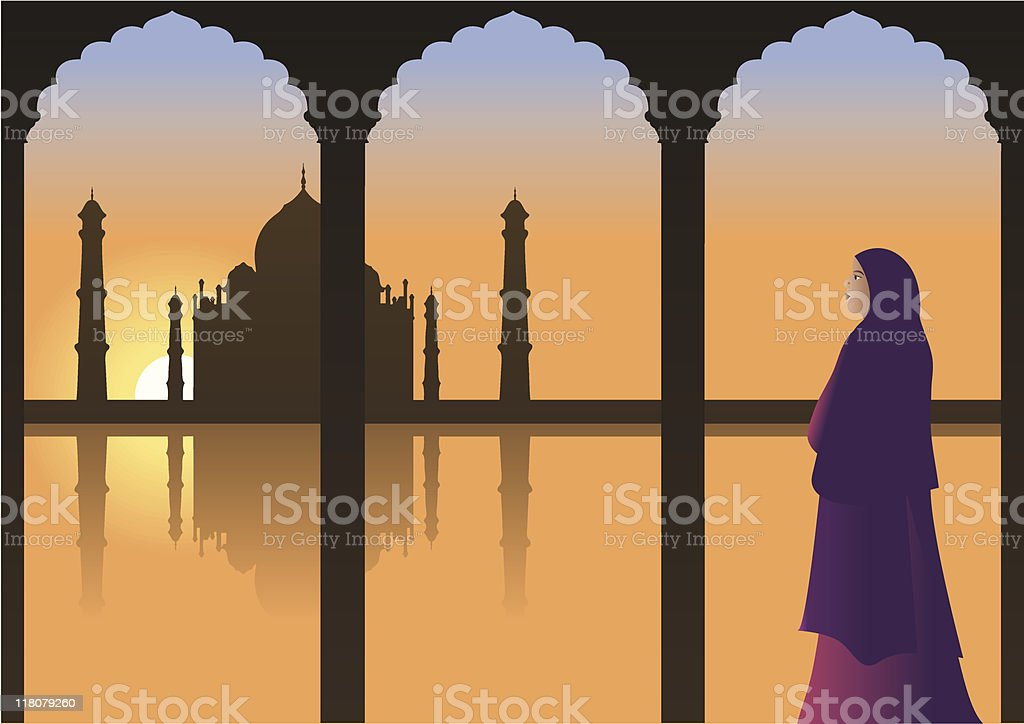 Woman looking at Taj Mahal royalty-free stock vector art