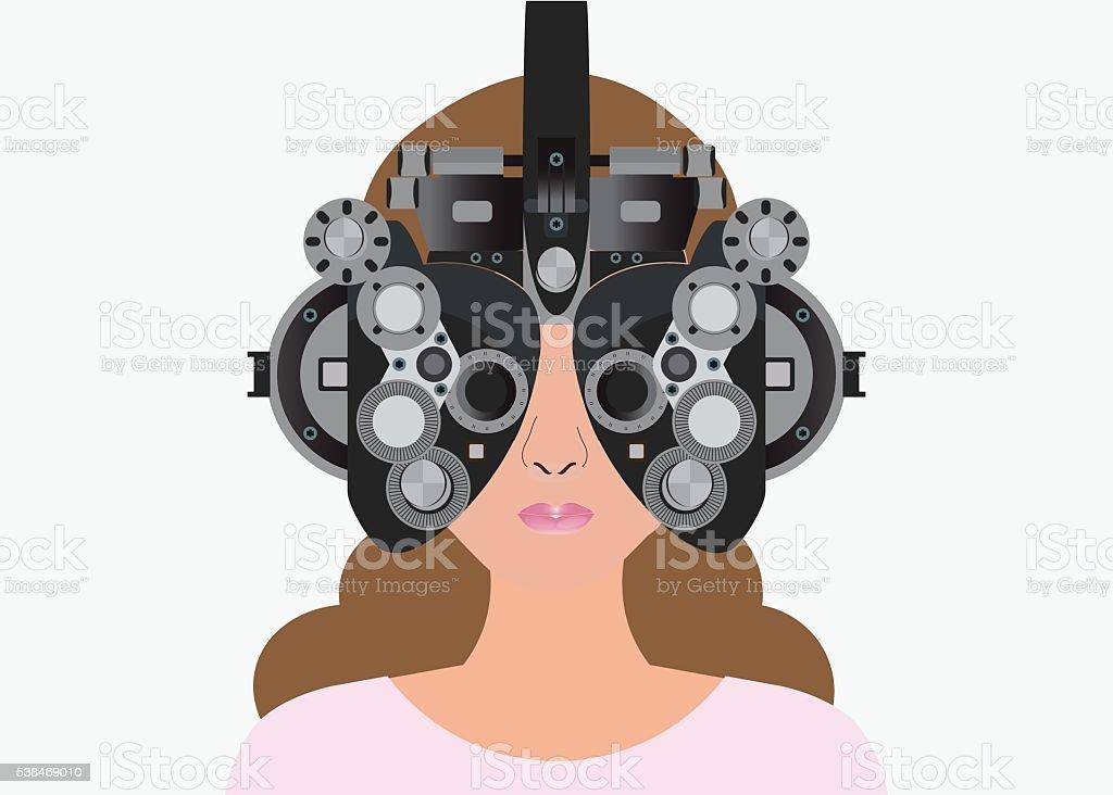 Woman looking through phoropter during eye exam. vector art illustration
