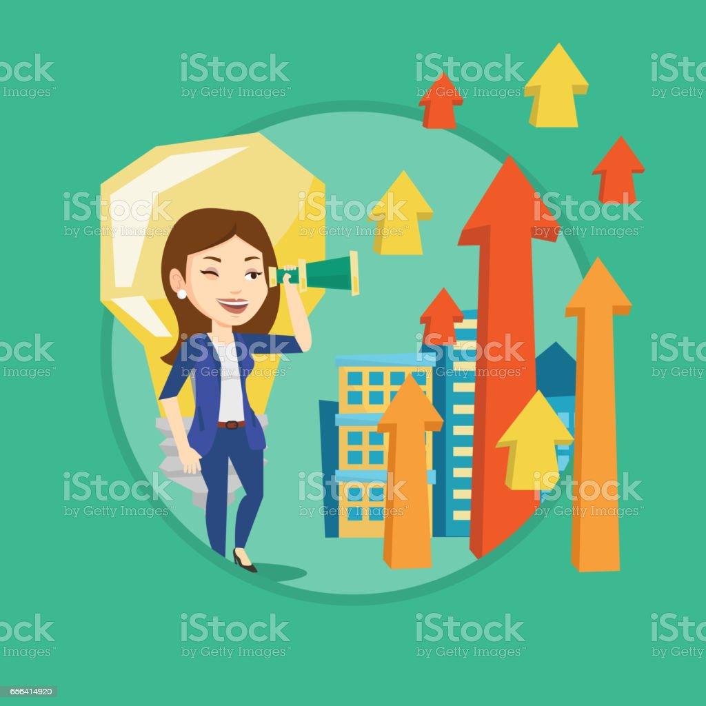 Woman looking through spyglass on raising arrows vector art illustration