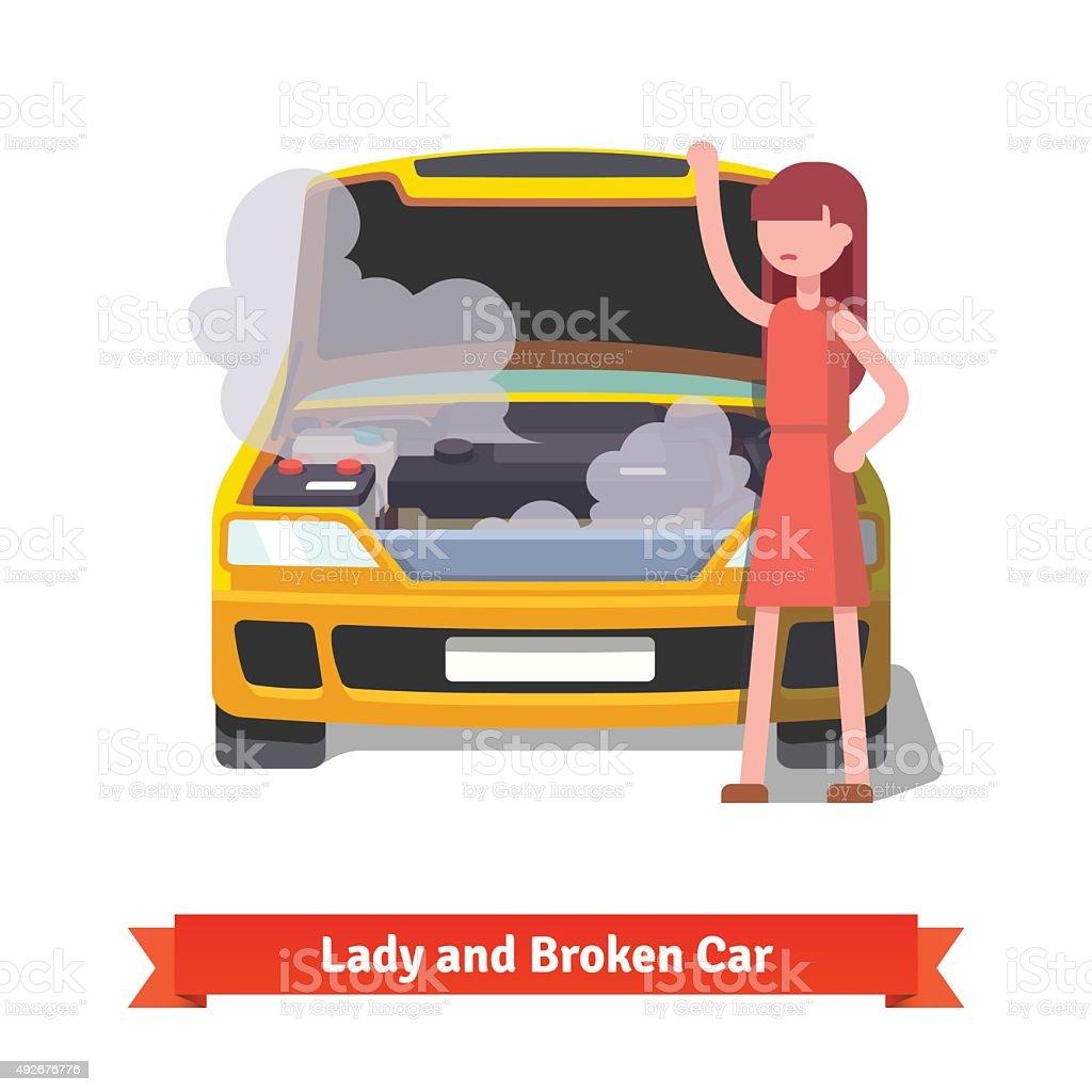 Woman looking under the hood of her broken car vector art illustration