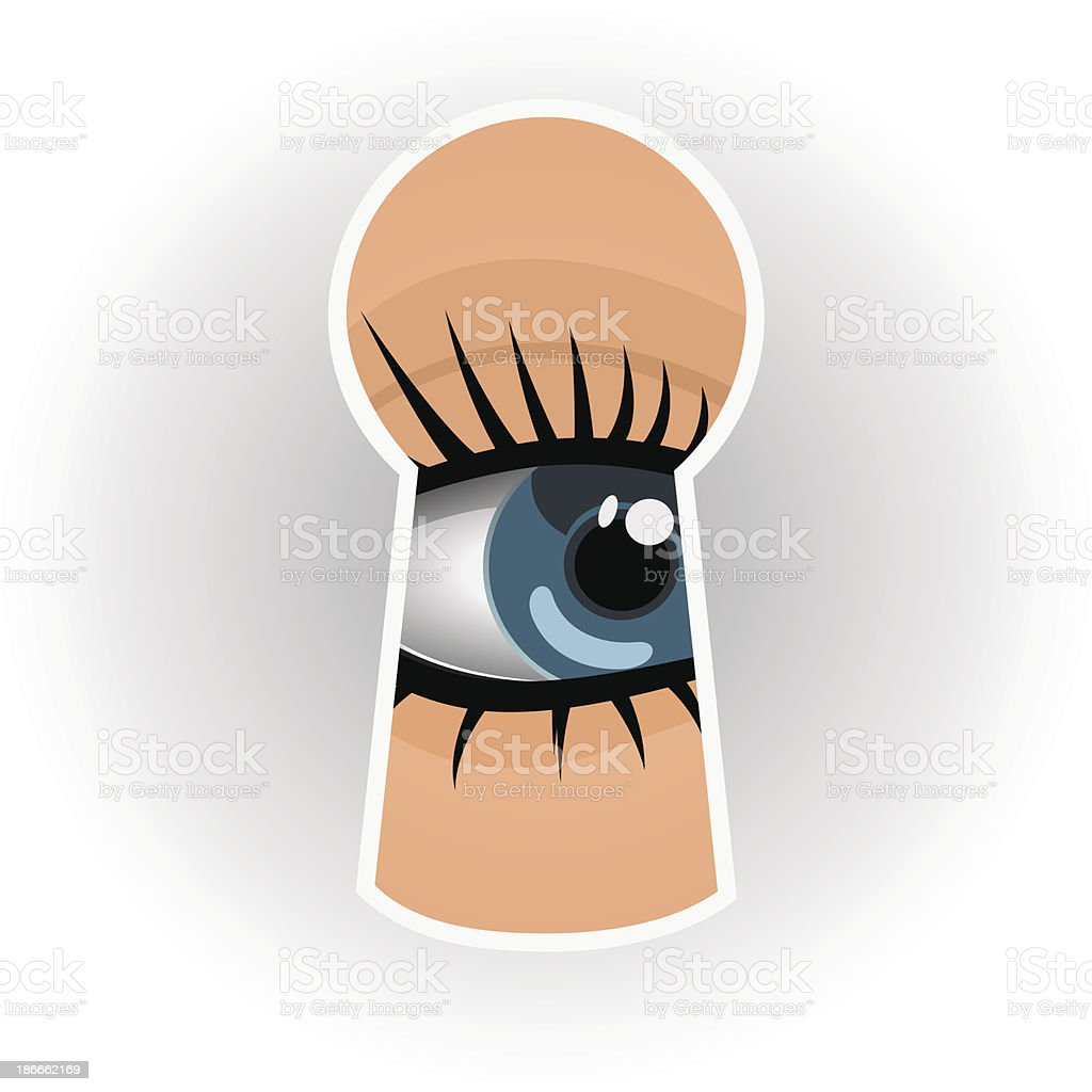 Woman looks through a keyhole vector art illustration