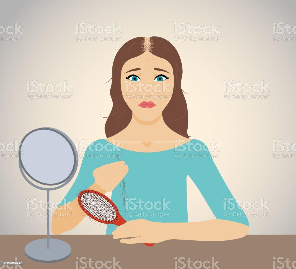 Woman losing hair vector art illustration