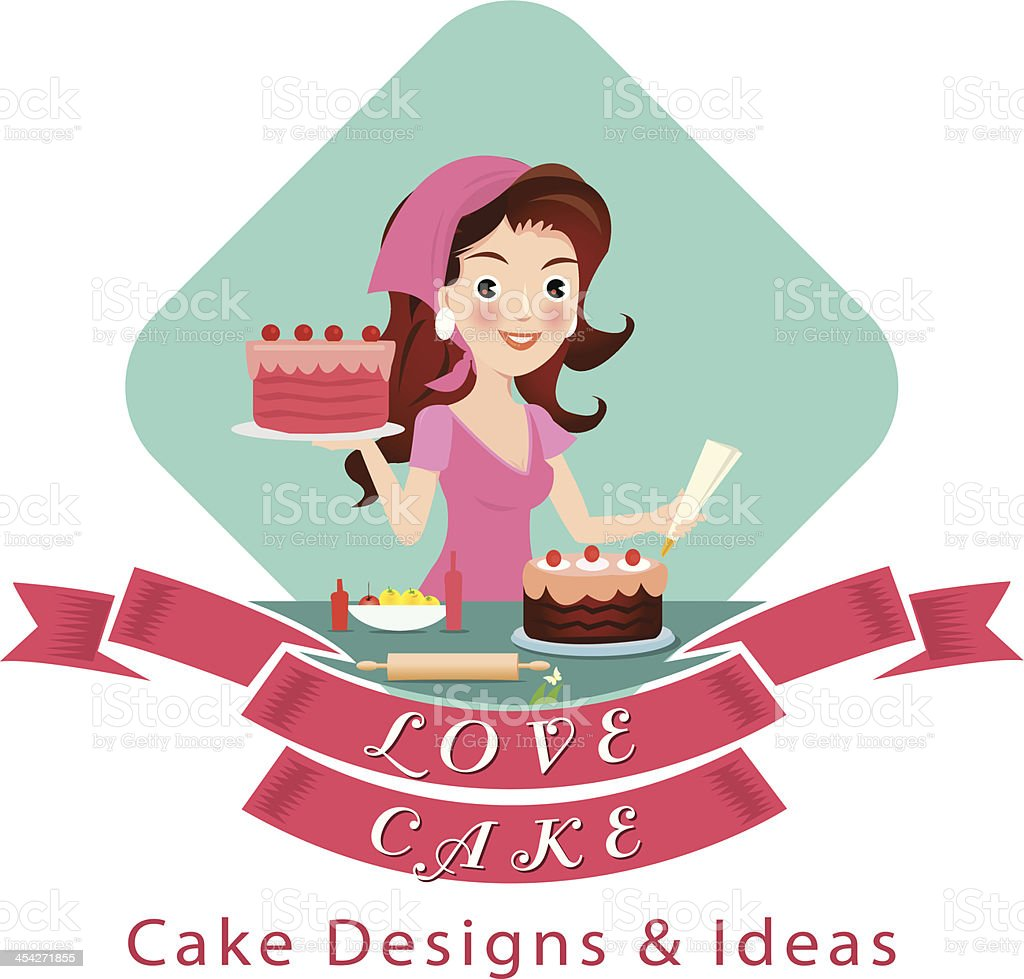 Woman making a cake. royalty-free stock vector art