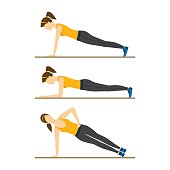 Woman Making Right Plank Position. Vector