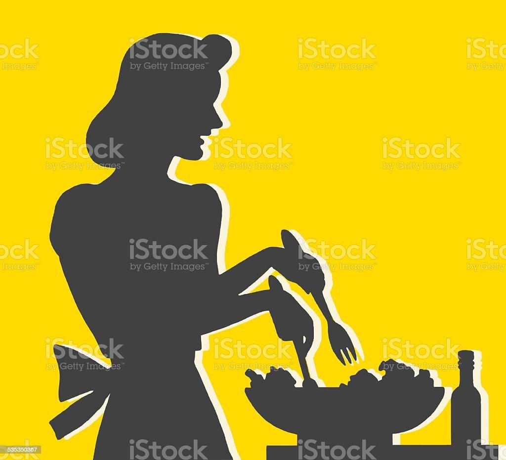 Woman Making Salad vector art illustration