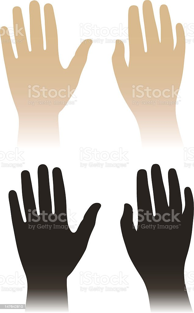 Woman, man hands isolated on white vector art illustration