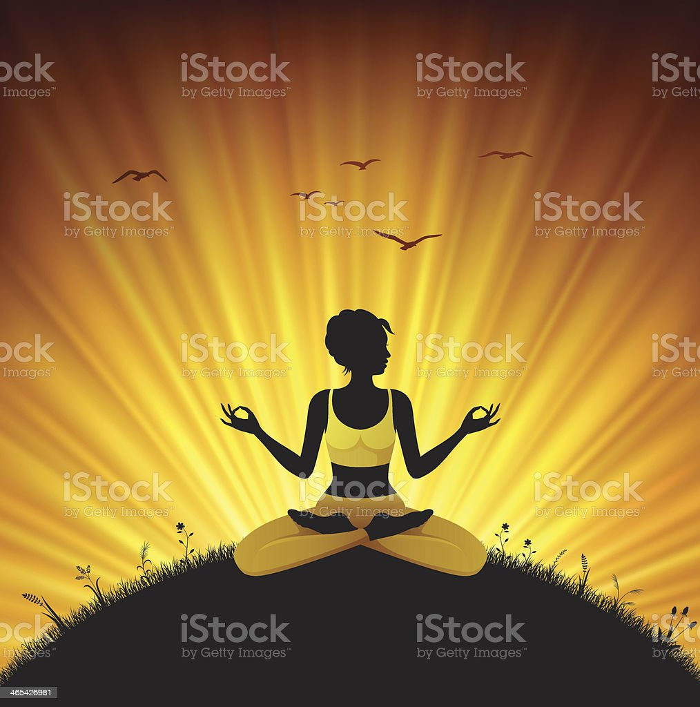 Woman Meditating in Nature royalty-free stock vector art