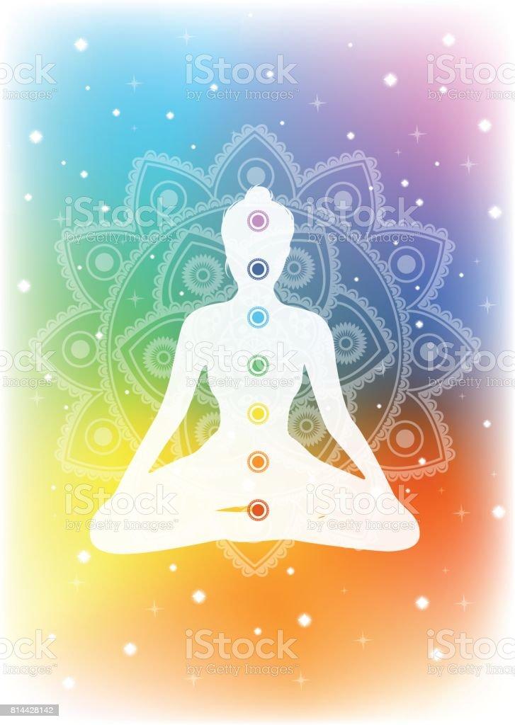 woman meditating vector art illustration