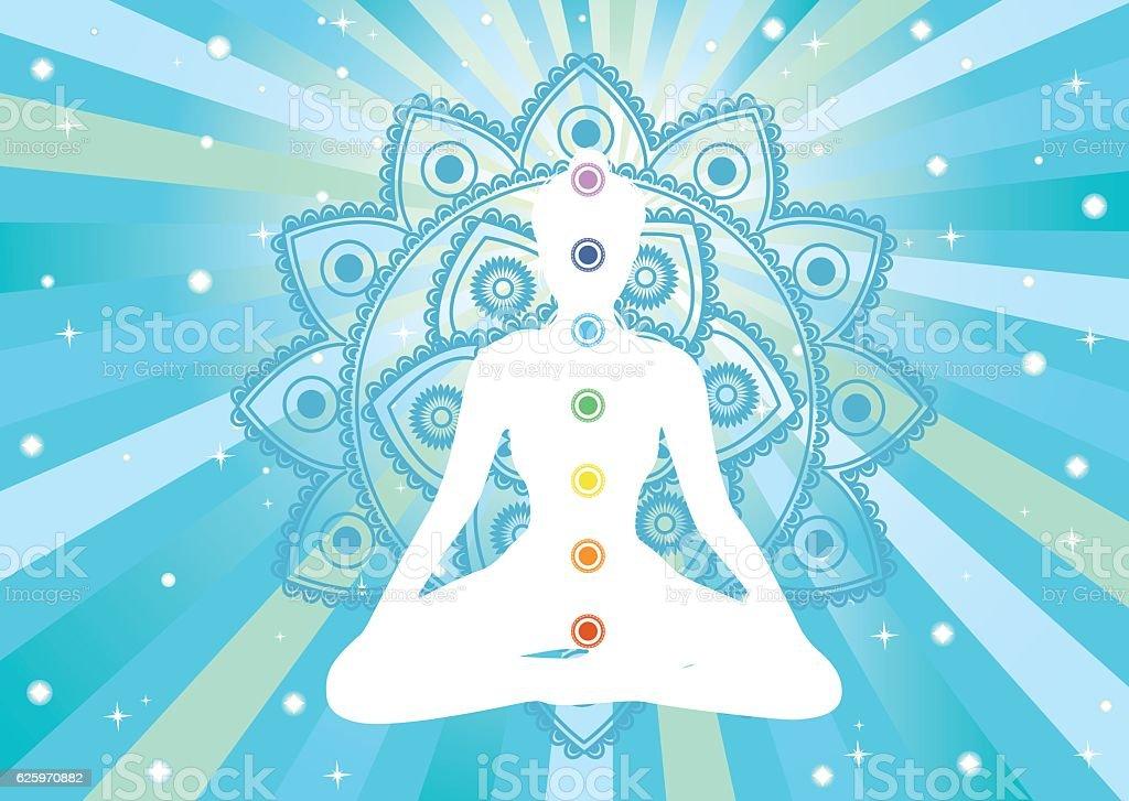woman meditation vector art illustration