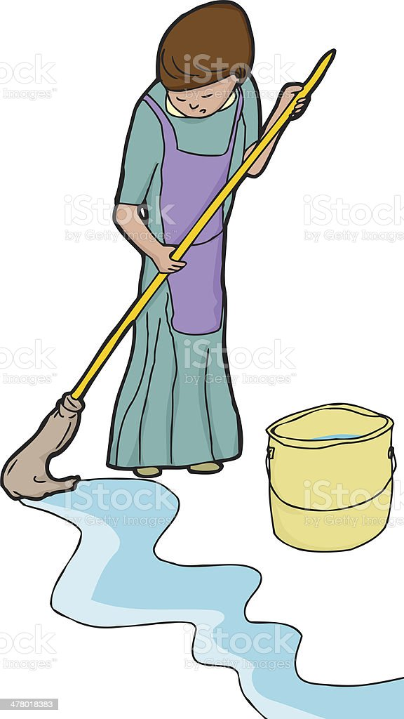 Woman Mopping royalty-free stock vector art