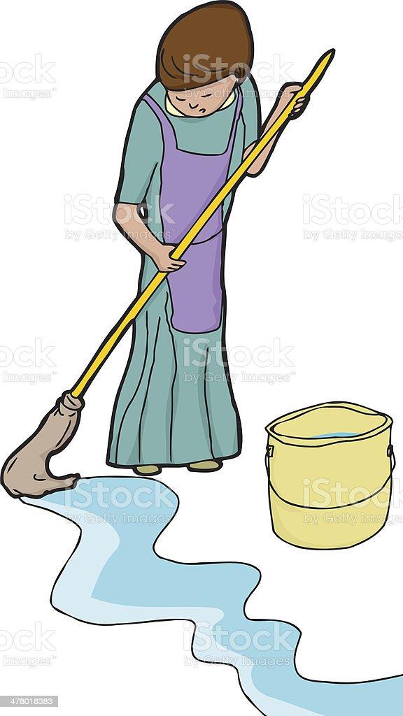 Woman Mopping vector art illustration
