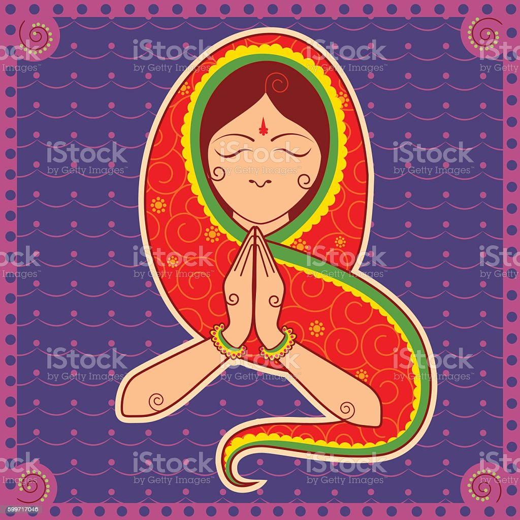 Woman of India welcoming gesture in Indian art style vector art illustration